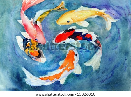 watercolor koi swimming