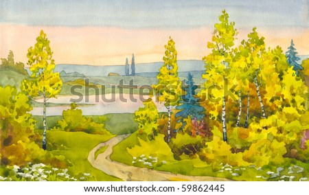 Watercolor landscape. A narrow path winds its way among the yellowing of young trees to the lake in the valley