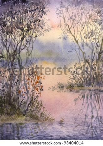 Watercolor landscape. A quiet corner of the lake the evening with thickets of trees and shrubs on flooded islands