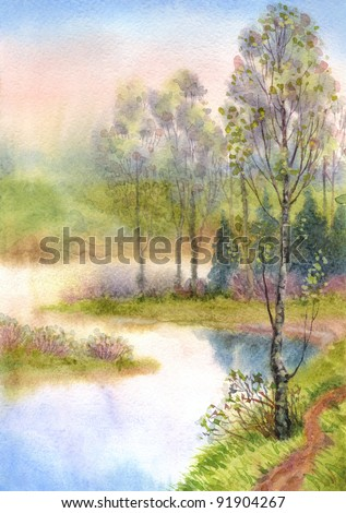Watercolor landscape. A quiet spring evening. Young trees have dismissed the leaves of the smooth surface of a calm lake