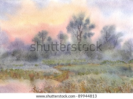 Watercolor landscape. Morning mist over the forest and meadows around the lake