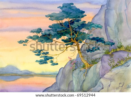 Watercolor landscape. Mountain pine for a quiet pink sunset over the lake