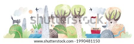 Watercolor landscape, mountains, hills, river, big trees, cute houses. Lake among the hills. Horizontal landscape.