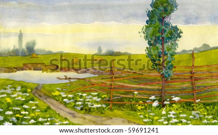 Watercolor landscape. Near the road to the lake near the fence is growing poplar - stock photo
