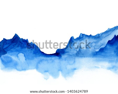 Watercolor landscape of blue vibrant mountain peaks. Peaceful tranquil hand drawn nature background for relaxation , meditation and restoration. Paper arts hand sketch.  Сток-фото ©