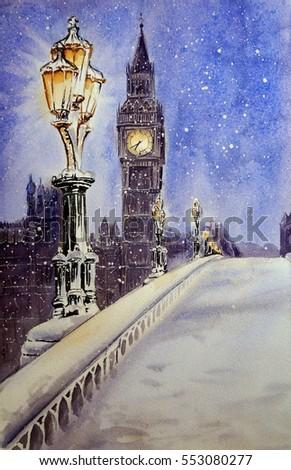 Watercolor landscape of Westminster bridge in London in the winter.