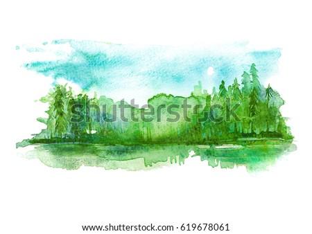 watercolor landscape  river...