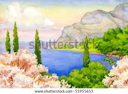 Watercolor landscape. Spring flowering trees on the beach