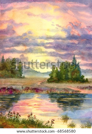 Watercolor landscape. The glow of the sunset over a calm lake