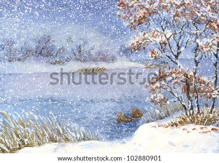 Watercolor landscape. Two ducks on the lake near the shore in winter snow on a cloudy day