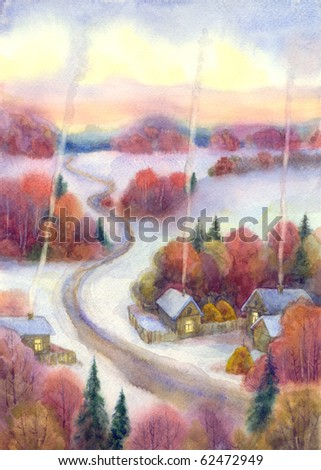 Watercolor landscape. Winter is frosty silence comfortable quiet evening wrapped village, is located among forests