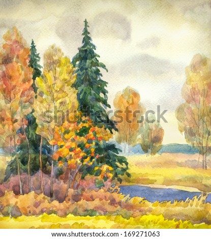 Watercolor landscape. Yellowing trees near a stream in cloudy autumn weather