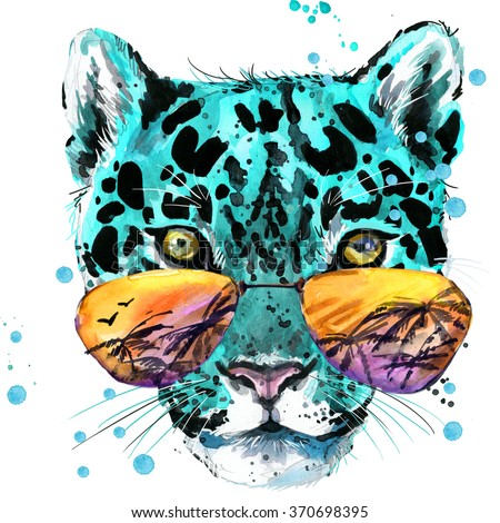 Watercolor leopard illustration for fashion print, poster, textiles, fashion design