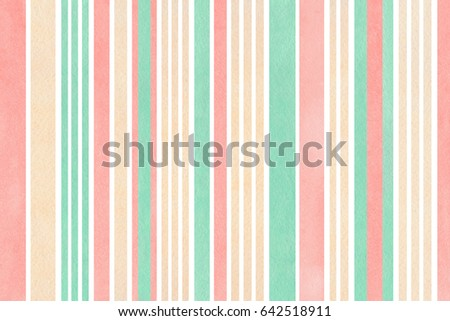 Watercolor light pink, beige and seafoam blue striped background.