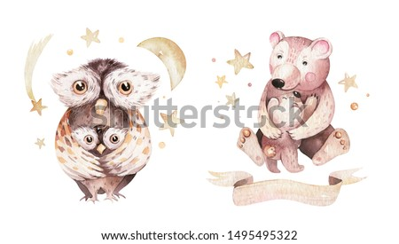 Watercolor little bear and owl baby and mother watercolour cartoon baby nursery. Forest funny young illustration animal. Mom and baby baby shower