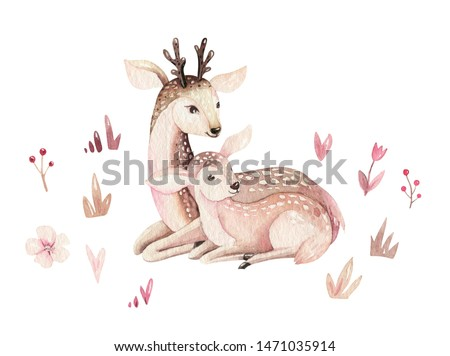 Watercolor little deer baby and mother watercolour bembi cartoon baby nursery. Forest funny young deer illustration. Fawn animal. Mom and baby