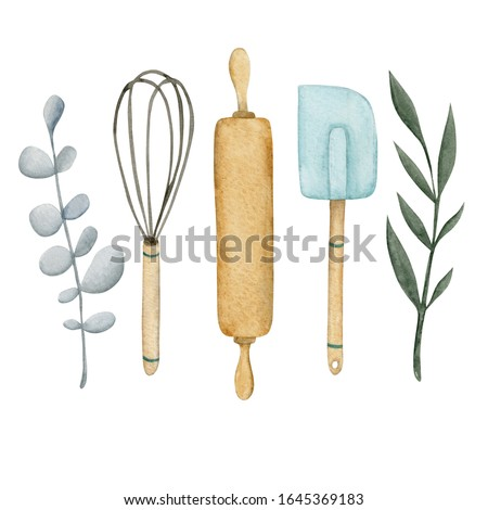Watercolor logo with rolling pin, whisk, pastry shovel and twigs, suitable for a pastry shop, bakery, cake shop, catering and other on a white background