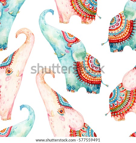 Watercolor lovely elephants on white background Seamless pattern in cartoon style. Hand painted cute animal illustration
