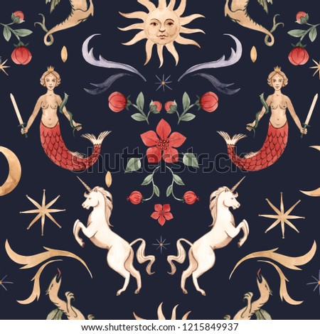 Stock Photo Watercolor magic pattern, unicorn, mermaid, stars and sun with face. Middle Ages print, dragon, red flower and moon. Dark background