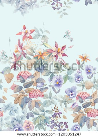 Watercolor magnolia, lilies and leaves, white flower hydrangea flowers