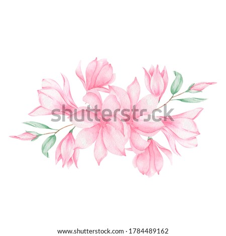 Watercolor magnolia. Pink flowers. Pattern with flowers. Botanical illustration