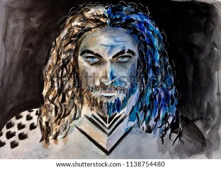 Watercolor man portrait