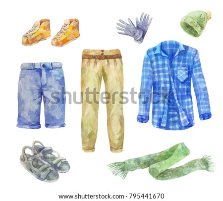 Watercolor men's clothing collection on white background. Set of male shirt, trousers, scarf, shorts, cap, boots, sandals. Set of sketches.