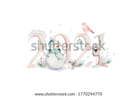 Watercolor Merry Christmas illustration with snowman, holiday cute animals deer, rabbit. Christmas celebration cards. Winter new year design