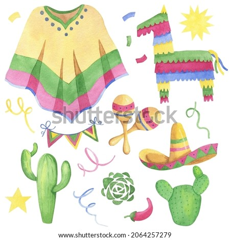 Watercolor Mexican motives: pinata, maracas, cactus, poncho, sombrero, flags, confetti. Hand-drawn illustrations for design fiesta cards, textile, wrapping paper, scrapbooking.