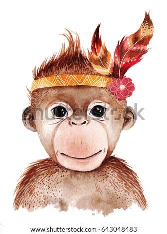Watercolor monkey portrait, cute boho design with feathers. Nursery prints with animals , posters and postcards.