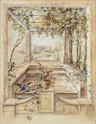 Watercolor monochrome drawing  with landscape pergola. View from home to landscape with plants, flowers and pigeons.
