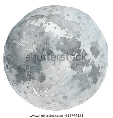 Watercolor Moon and craters