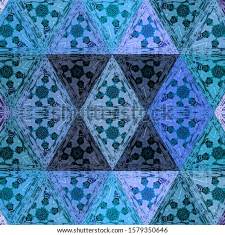 Watercolor mosaic triangles pattern in blue transparent elements with transparent effect.