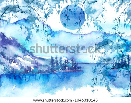 Watercolor mountain landscape, blue, purple mountains, tree, peak, forest silhouette, reflection in the river, lake, clouds, fog, moon, monochrome. Watercolor painting, illustration, landscape