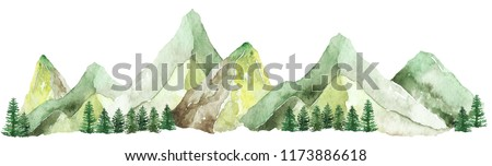 Watercolor mountains landscape, isolated Hand drawn, watercolor illustration