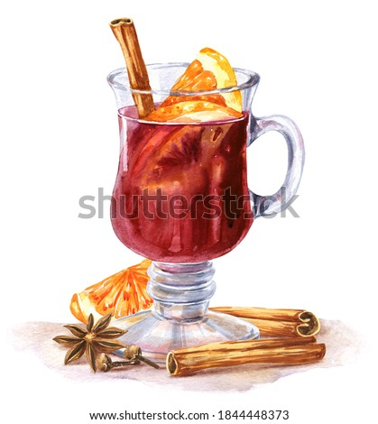 Watercolor mulled wine with orange, cinnamon and spices on white background. Watercolour fall season food illustration.	  Stockfoto ©
