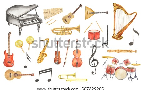 Watercolor musical instruments set. All kinds of instruments like piano, saxophone, trumpet, drums and others.