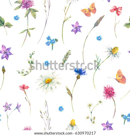 Watercolor natural summer seamless pattern with bouquets of wildflowers. Daisies, clover, meadow herbal and butterflies. Botanical floral illustration on white background