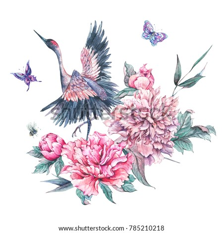 Watercolor nature card with crane, pink flowers blooming peonies, bee and butterflies isolated on white background, Animal decoration, Hand painted illustration