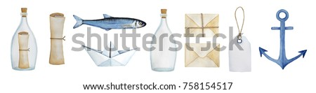 Watercolor nautical illustration collection. Sail, travel, sea, delivery system, shipping, fishing set. Paper boat, navy anchor, message in a bottle, empty bottle, kraft packages, fish, paper scroll.
