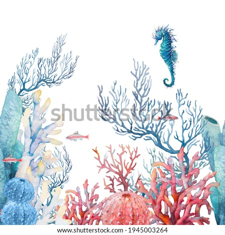 Watercolor nautical seamless border. Hand painted underwater repeating ornate with fishes and corals on white background. Sea wallpaper design