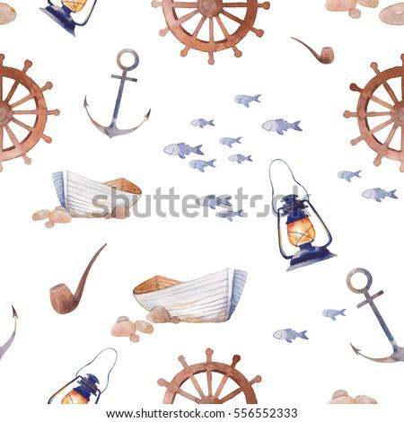 watercolor nautical seamless...