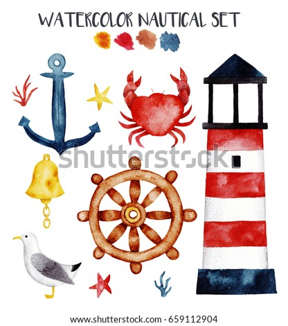 Watercolor nautical set with cute elements. Hand drawn illustration in marine theme. Cute kids clip art for your design.