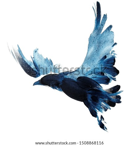 Watercolor navy blue hand drawn flying  raven with spread wings 64 Сток-фото ©