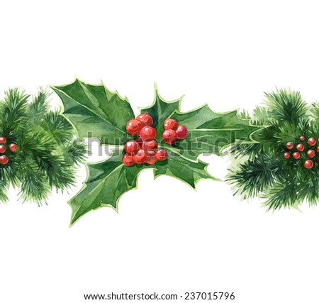 Watercolor new year decoration elements seamless border set with holly #237015796