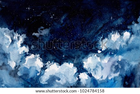 Stock Photo Watercolor night sky with clouds. Hand drawn illustration