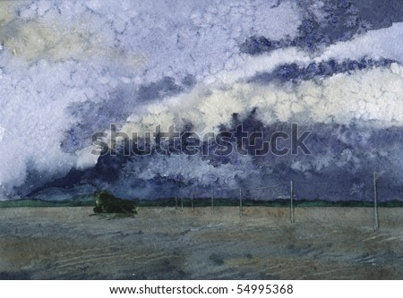 Watercolor of a cloudscape before the hurricane
