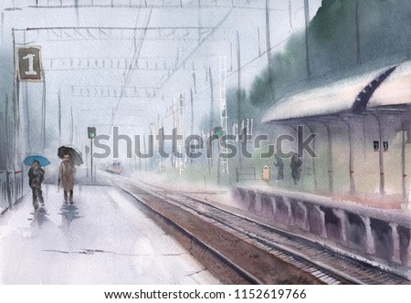 Watercolor of a railway station in a rainy day