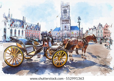 watercolor of carriage in...