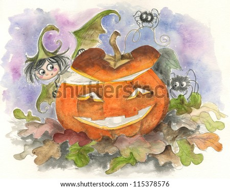 Watercolor of little Halloween fairy elf and hairy spiders with carved pumpkin. - stock photo